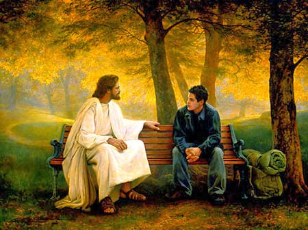 Jesus-and-Man-Sitting-on-Bench