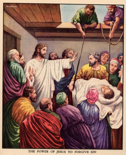 www-St-Takla-org--45-Jesus-heals-a-paralytic-man-lowered-from-the-roof-3