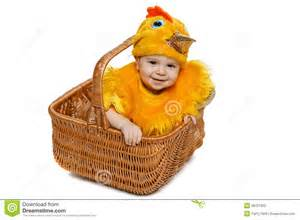 baby chick in basket