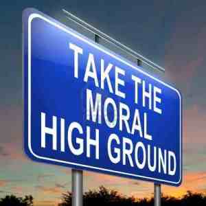 16582167-illustration-depicting-a-roadsign-with-a-moral-high-ground-concept-evening-sky-background