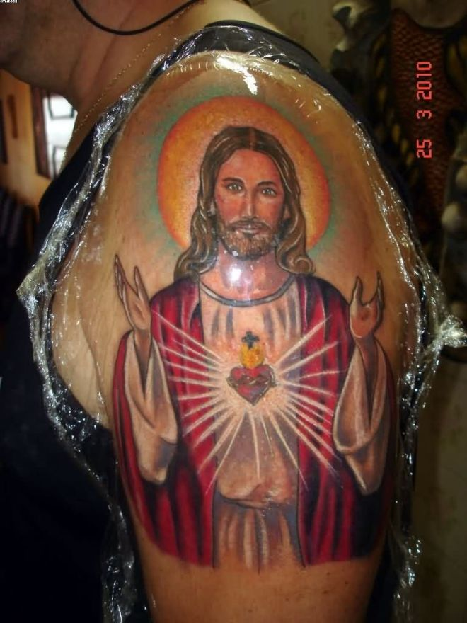 charming-jesus-tattoo-on-upper-arm