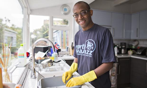 Hugh Muir doing the washing up