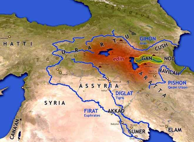 THE FOUR EDEN RIVERS Gods HotSpot - Tigris and euphrates river map
