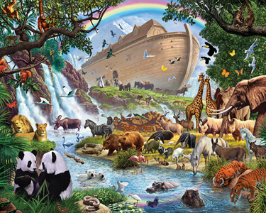 Animals disembarking from the Ark with a river in the foreground