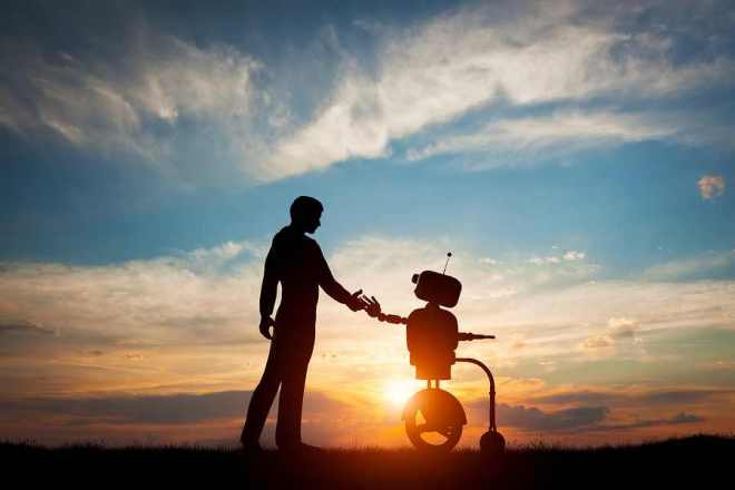 Man and robot meet and handshake. Concept of the future interact