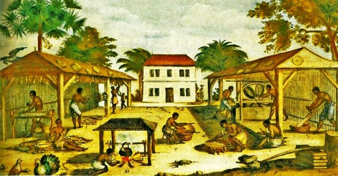 Slaves working with tobacco in Virginia, by an unknown artist, 1670..jpg
